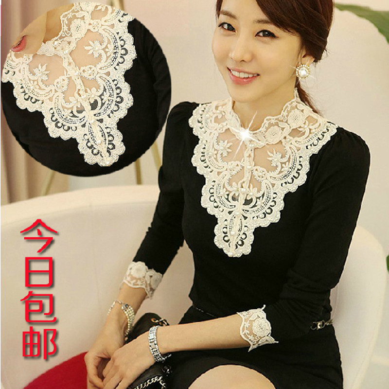 女长袖t恤2013新款秋装女装韩版修身蕾丝花边立领打底衫雪纺上衣 价格:39.00