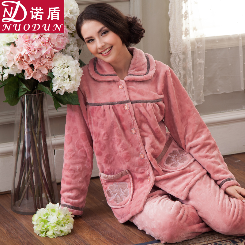 诺盾秋冬季家居服法兰绒加厚珊瑚绒睡衣女士冬天长袖清仓休闲套装 价格:108.00