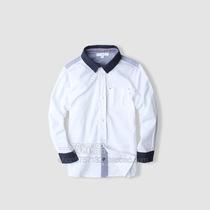 外贸原单儿童装 男童宝宝中大童男孩子潮白衬衫 纯棉学生长袖衬衫 价格:58.00