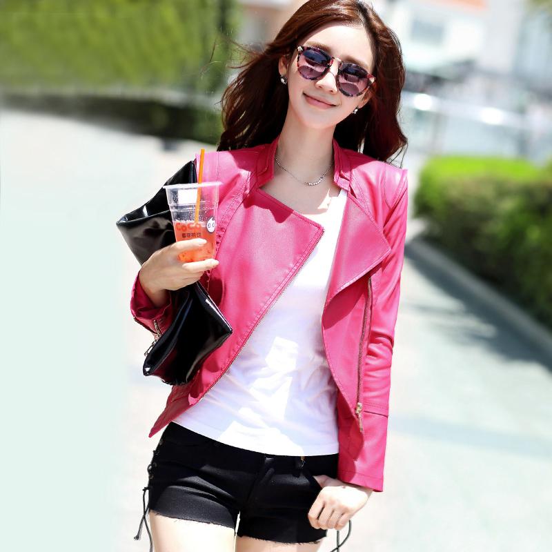 现货2013秋装新款韩版机车PU皮衣女短款修身小外套立领皮夹克5805 价格:165.00