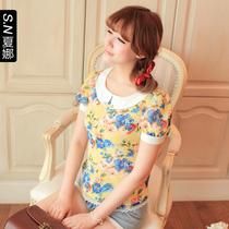 夏娜 2013夏装新品复古撞色娃娃领泡泡袖印花短袖雪纺衫上衣4824 价格:59.00