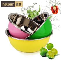 维艾糖果色炫彩不锈钢洗菜和面盆加厚加深三件套装厨房餐饮用具 价格:59.50