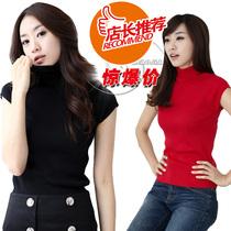 2013春秋装 新款 韩版女装 修身套头黑色高领短袖毛衣针织衫 价格:49.00