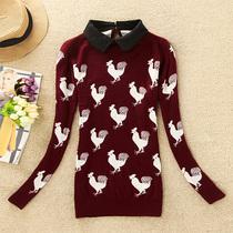 2013冬新款女装 韩版宽松套头针织衫公鸡图案打底毛衣女 上衣针织 价格:95.00