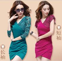 2013夏装新款时尚女装韩版大码V领修身雪纺 长袖蕾丝包臀连衣裙子 价格:49.00