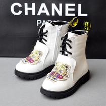 欧洲大牌虎头刺绣儿童马丁靴男孩女童皮靴子中筒靴秋冬季骑士童靴 价格:79.90