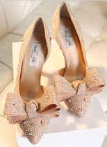华伦天奴夏季新款尖头水钻三重蝴蝶结高跟女单女鞋子水晶婚鞋单鞋 价格:238.00