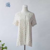 日本原单poudoudou森林系碎花蕾丝拼接开襟衬衫 可爱短款连衣裙女 价格:79.00