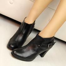 真皮牛皮!出口韩国外贸原单粗高跟及踝靴裸靴女短靴363738码特价 价格:79.00