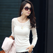 韩丽都秋季新款女装蕾丝打底衫 修身百搭短款T恤 女 长袖大码 价格:69.00