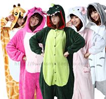 关古恐龙法兰绒轻松熊动物连体睡衣卡通长袖秋冬季家居服如厕版 价格:52.92