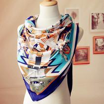 秋季大方巾 蓝色Blue 女士时尚百搭超大方巾 滚边图案围巾女 价格:39.00