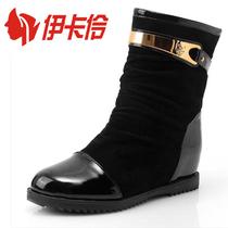 欧美新款女靴子春秋单靴裸靴平跟内增高短靴复古马丁靴机车靴鞋子 价格:56.44