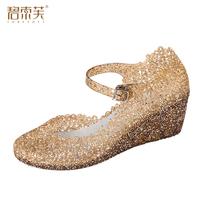 2013新款潮 鸟巢鞋凉鞋 女坡跟高跟水晶凉鞋夏 女鞋洞洞鞋清仓 价格:23.80