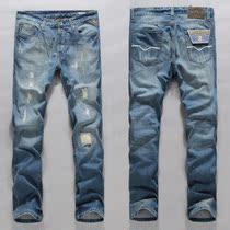2013新款replay牛仔裤 男士洗水做旧磨破补丁修身直筒牛仔裤男 价格:175.00