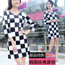 秋新款韩国代购冰冰款黑白格子裙修身气质长袖复古英伦棋盘连衣裙 价格:128.00