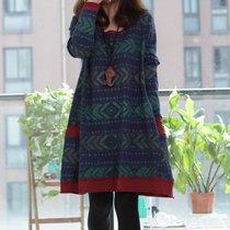 十暮棉2013秋装新品新款布衣风格韩版女装大码棉质图案长袖连衣裙 价格:156.80