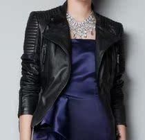 外贸原单 特 2013新款ZR真皮皮衣女 女士 羊皮 机车短款修身黑色 价格:480.00