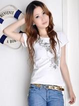 2013年阿依莲女装新款夏装修身韩版通勤精梳棉圆领白色短袖T�S潮 价格:36.96