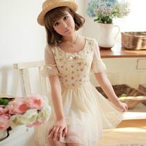 2013夏装新款 日系甜美公主风蕾丝碎花拼接网纱雪纺短袖连衣裙 女 价格:140.80