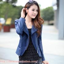 2013秋装新款韩版修身女士水洗pu皮衣外套短款机车小皮衣女装夹克 价格:156.00