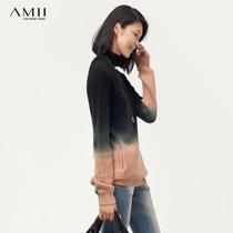AMII2013秋装新款女休闲渐变色撞色显瘦套头高领毛衣女11300636 价格:229.00