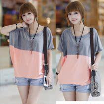 2013韩版女装夏装新款大码胖mm时尚显瘦蝙蝠袖宽松短袖t恤衫 潮 价格:28.00