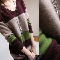 2013秋冬新款女式长款纯山羊绒衫V领长袖套头连衣裙貂绒毛衣正品 价格:99.00