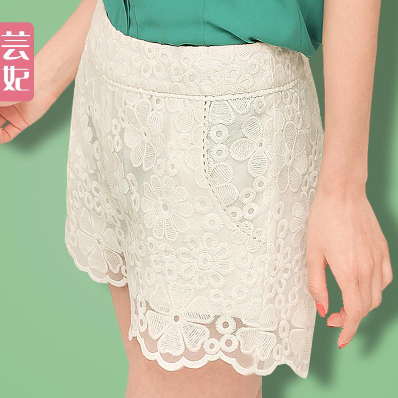 芸妃 蕾丝短裤女夏韩版女装白色水溶绣打底裤热裤短裙裤 价格:69.00
