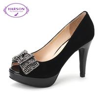 哈森harson2013新圆头蝴蝶结羊皮浅口酒杯跟女单鞋HS39019 价格:329.00