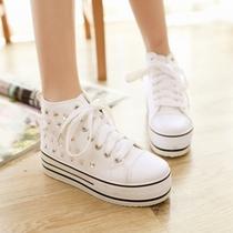 韩版潮秋季水钻白色帆布鞋女款 女士高帮松糕厚底布鞋 高邦女鞋子 价格:58.00