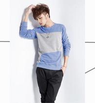阳光男孩必备款 百搭撞色拼接长袖T恤 价格:83.92