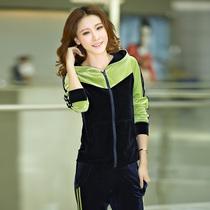 拼接撞色韩版丝绒套装女款天鹅绒运动套装修身显瘦时尚休闲套装秋 价格:168.00