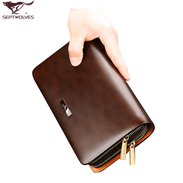 七匹狼男士手包 男包 2013新款 牛皮手抓包手拿包 大容量商务夹包 价格:249.00