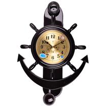 北极星静音办公室客厅舵手大码壁挂钟创意摆钟船锚工艺时钟石英钟 价格:165.00
