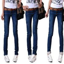 春装2013秋冬新款韩版女士女款牛仔可翻折小脚铅笔牛仔裤女裤子潮 价格:35.88