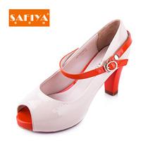 索菲娅2013新品高跟粗跟牛漆皮细带鱼嘴浅口单鞋女鞋子SF31S31501 价格:501.00