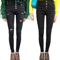 韩版大码女裤四扣破洞高腰黑色牛仔裤 铅笔裤 firefly小脚裤 女 价格:78.00