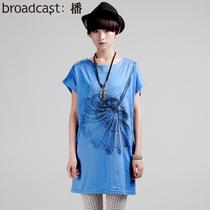 2013秋女新款正品代购美丽天堂圆领短袖中长款印花T恤DDG2EY6794 价格:149.00