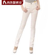 两条腿女裤2013秋季新款高腰白色牛仔裤女款韩国潮弹力小脚长裤子 价格:168.00