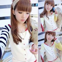 2013秋装 新款女装韩版宽松针织衫女 V领外搭长袖条纹 针织开衫薄 价格:39.00