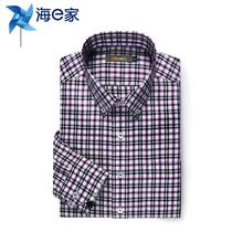 海e家 2013秋季新品 休闲衬衫 男士 长袖修身 纯棉格子衬衣 包邮 价格:139.00