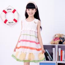 包邮2013新款夏装童装女童中大童儿童条纹连衣裙蕾丝公主裙中裙子 价格:72.00