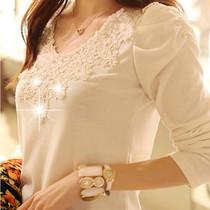 2013春秋装新款打底衫蕾丝上衣韩版大码女装衣服修身棉t恤女长袖 价格:39.90