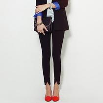 韩国MISSLADY立体竖纹前开叉超显瘦小脚裤打底裤 高弹力百搭显瘦 价格:65.00