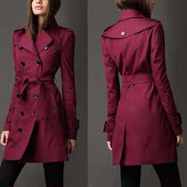 欧洲站英伦b原新品单巴.宝.莉 女装风衣修身长款长袖双排扣风衣女 价格:423.30