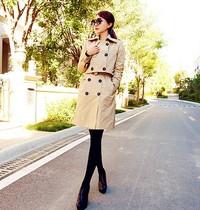 风衣女款2013新款秋春韩国代购两件套长款修身双排扣韩版风衣外套 价格:228.90