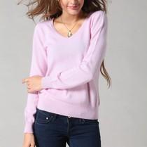 秋装女针织衫女式V领羊绒衫 纯色毛衣 特价打底衫 修身羊毛衫清仓 价格:96.00