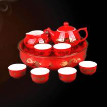 醴陵红瓷 万寿金龙九头茶具套装 时尚创意高档商务礼品 带茶托 价格:860.00