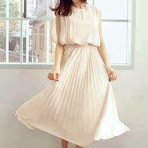 2013夏装新款 韩版女装修身雪纺仙女裙显瘦百褶无袖连衣裙 长裙夏 价格:88.00